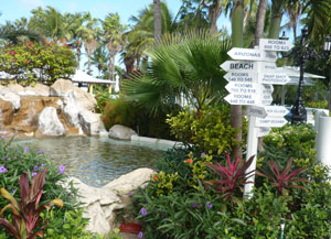 A beach sign at the resort